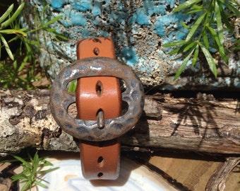 Vintage Buckle Leather Cuff Bracelet