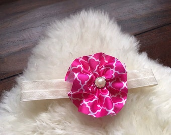 Pink ribbon flower headband