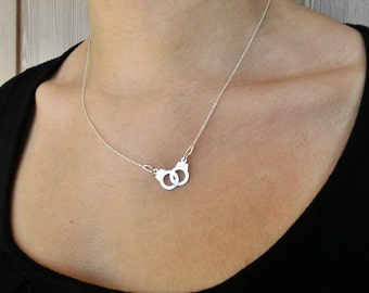 Handcuffs necklace - Sterling silver asymmetric necklace