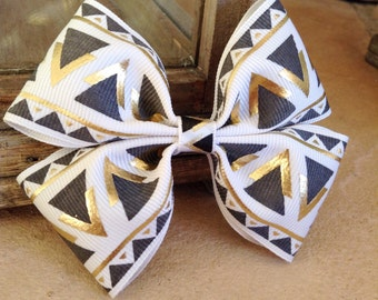 Basic double hair bow (gold and black)