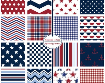 July 4th, digital scrapbook papers - red, white and blue, stars and stripes, polka dot, chevron, bunting, plaid and anchor patterns