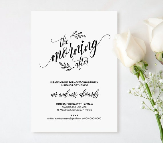 Wedding Brunch Invitation Template Printable Post Wedding