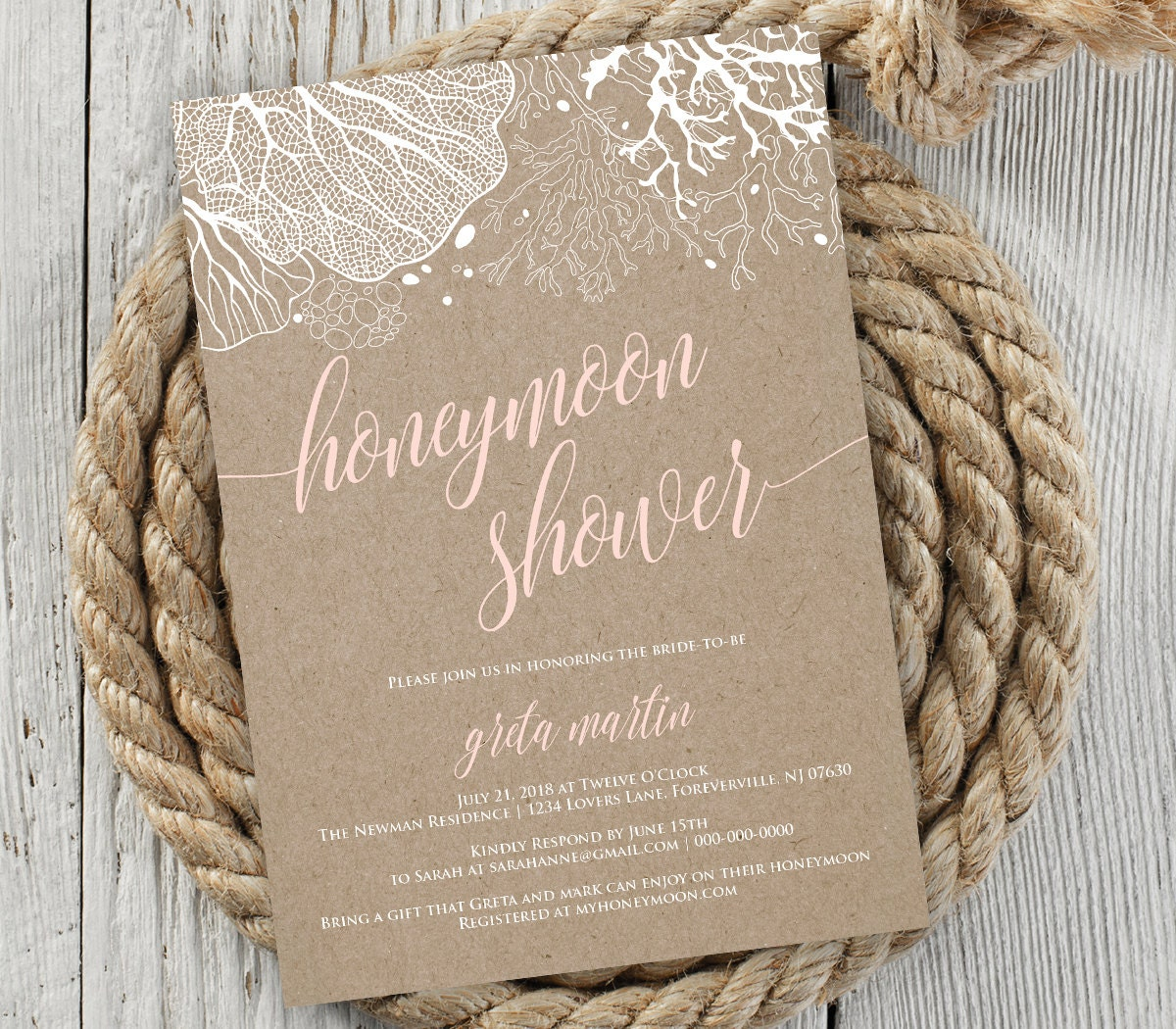 Standard Monetary Wedding Gift: Honeymoon Shower Invitation, Bridal Shower Invite, Wedding
