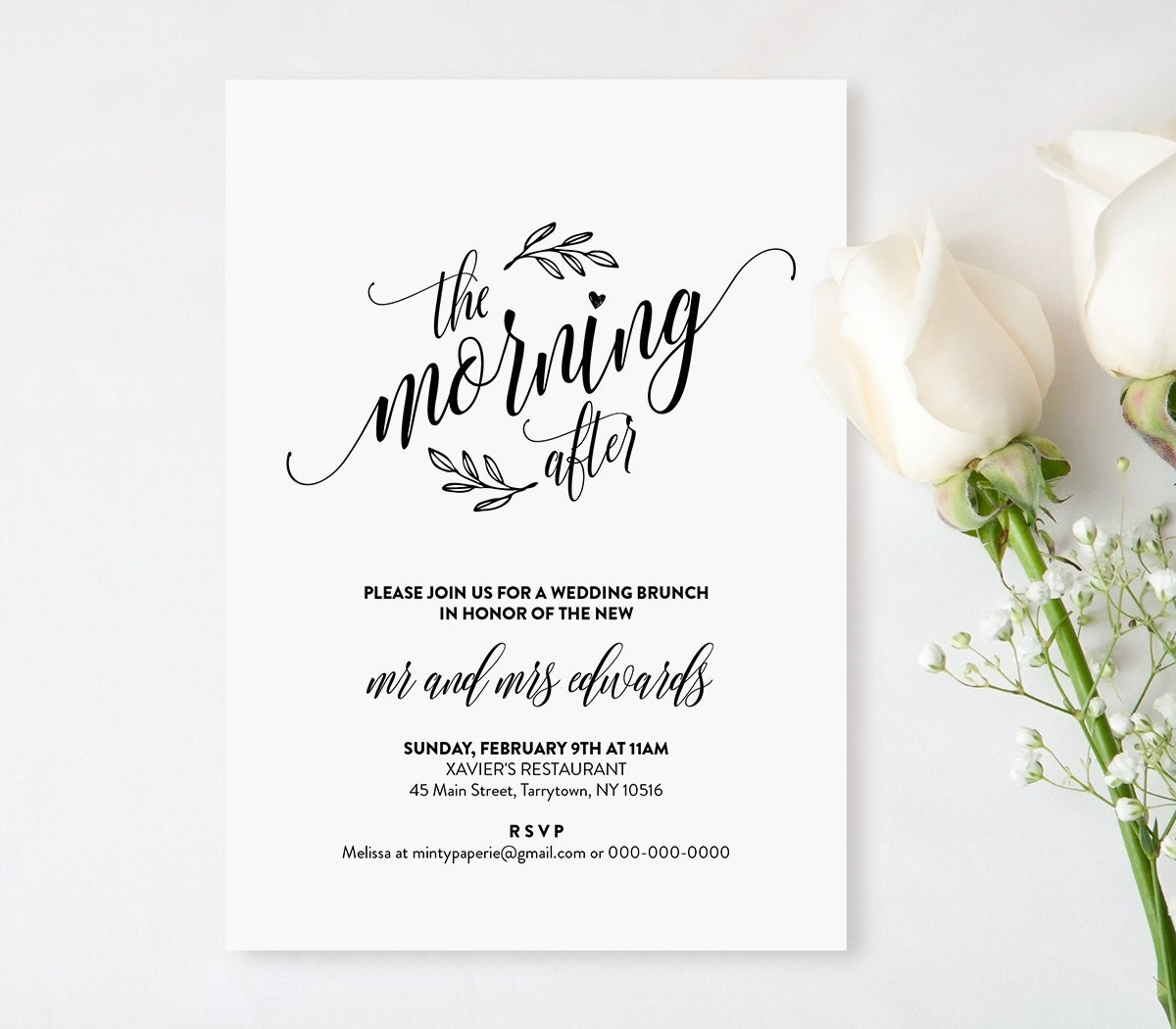 Wedding brunch invitation template printable post wedding for Wedding brunch invitations
