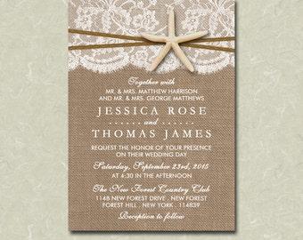 "5"" x 7"" Rustic Burlap, Lace, Starfish & Twine Beach Wedding Invitation Digital File"