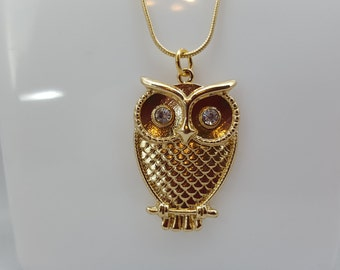 CLEARANCE Gold owl pendant necklace