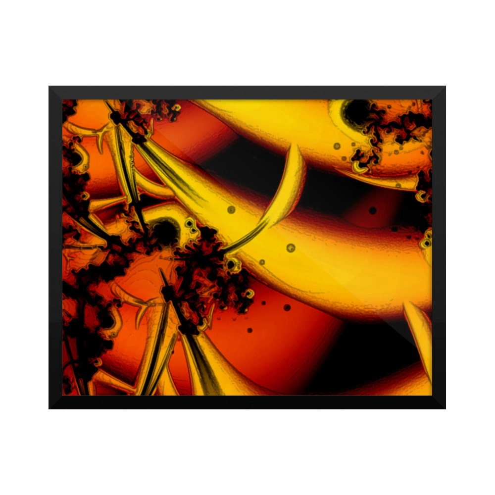 Wall Decorations Orange : Home decor art orange lily fractals wall by likeiguanaart