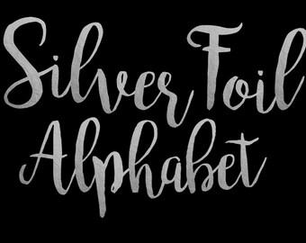 Silver Foil Alphabet Clip Art Silver foil Letters Silver Foil Font Silver Alphabet Letters Silver Foil Numbers 68 Elements Instant Download