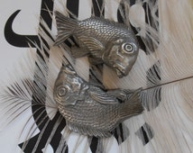 Rare Pair Of Vintage Selangor Pewter Koi Carp Fish