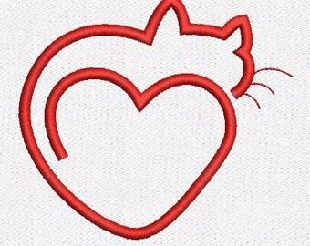 Cat Heart machine embroidery design