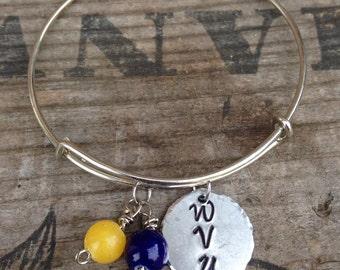College football bracelet~ Wvu bracelet~ Football fan~ Sports fan
