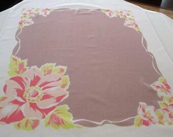 SALE: Vintage Tablecloth Hibiscus Flower Design, Cotton Flower Tablecloth, Retro Tablecloth, Cottage Chic Tablecloth, Vintage Dining