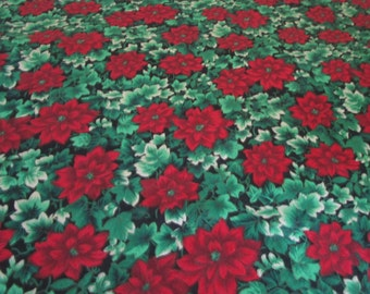 Vintage Christmas Tablecloth Poinsettia Design, Cotton Christmas Retro Tablecloth, Christmas Tablecloth, Tablecloths