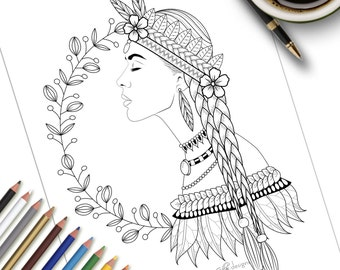 Printable Colouring Page Nature Woman