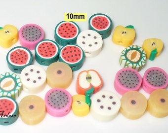 24 Fimo beads, polymer clay, fruit salad, 10 mm (K660. 6)
