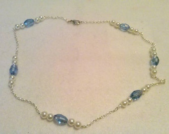 Blue and Pearl Link Necklace