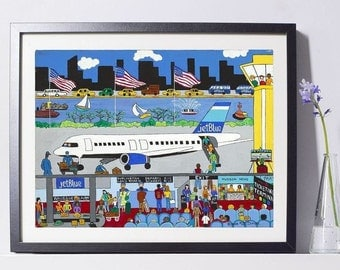 New York Art - JetBlue Airlines Art - New York Gift - NYC Art Print - Pat Singer's New York