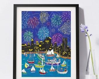 July 4th Fireworks NYC Art Print