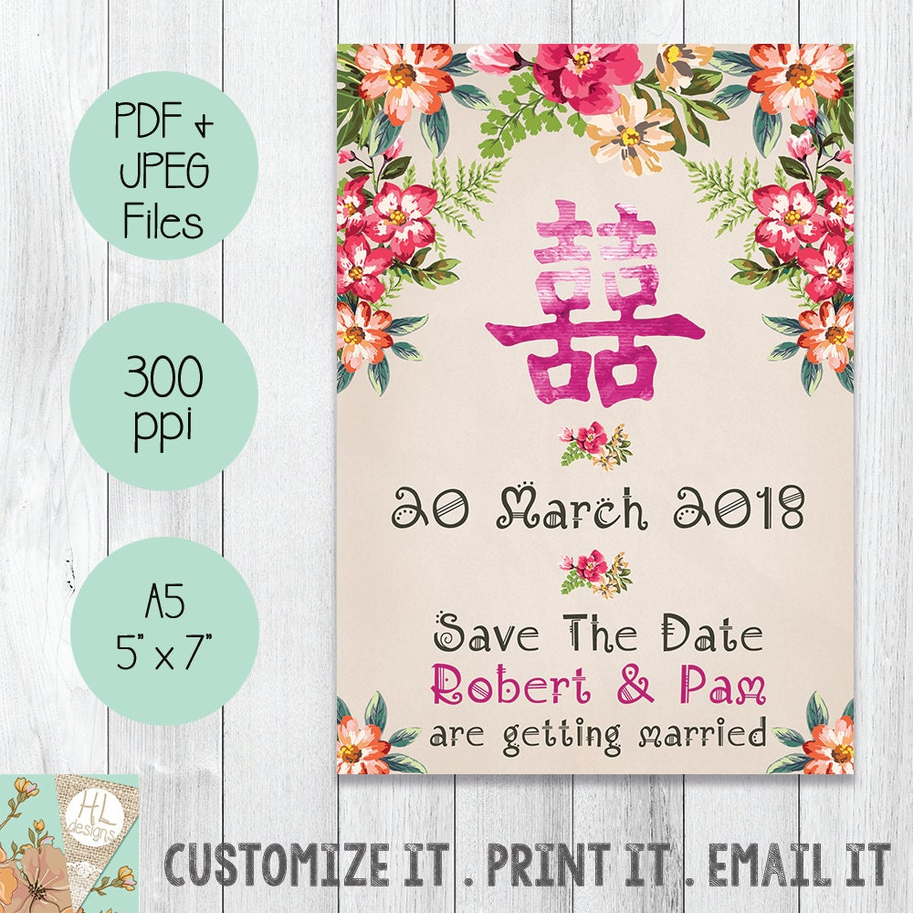 Save The Date | Double Happiness | Floral Design | Wedding ...