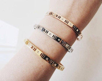 Crystal Roman Numerals Bangle Bracelet_ Gold/Silver/Rose Gold_ BACK IN STOCK!