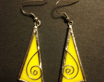 Yellow triangle stained glass earrings