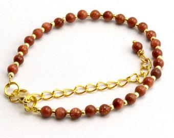 Friendship Bracelet with Goldstone Beads
