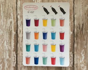 Soda Drink Stickers, Pop Stickers, Soft Drink Stickers, Erin Condren Planner Stickers, C-157.