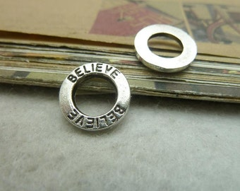 BULK 50 Believe Charms Antique Silver Tone Little Affirmation Circle (YT7303)
