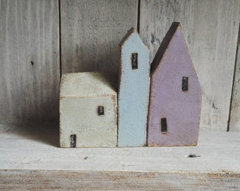 Row of 3 coastal village houses. Seaside town inspired gifts