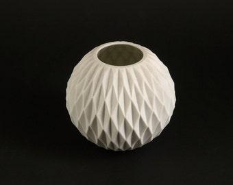 Rare West German OP ART Panton Era Bisque Porcelain Vase HONEYCOMB by Thomas Modernist Space Age