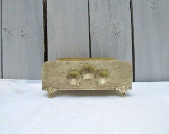 Goldtone seashell tissue box holder, scallop shell gold tissue holder, bathroom beach decor, coastal cottage gold decor, nautical beach