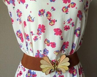 Vintage floral summer mini dress, 1970s dress, day dress, sun dress, pretty dress