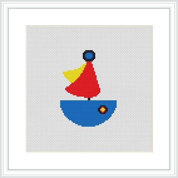 Boat cross stitch pattern for baby pdf counted cross for Anchor decoration runescape