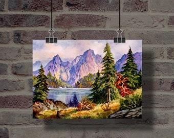 Watorcolor Landscape Painting #001 : Handmade, Digital Download