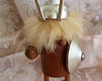Vintage Teak Viking Figurine - Miniature Wood Viking - Mid Century Danish Modern Figurine