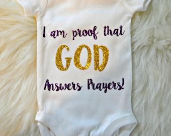 God Answers Prayers Onesie