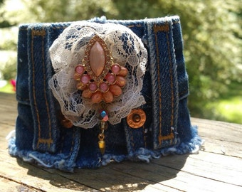 Denim Cuff Bracelet with Bling and Lace