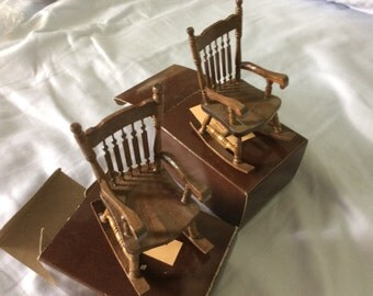 Vintage miniature wood rocking chairs in boxes, never used, 2