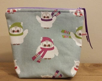 owl zip up pouch bag