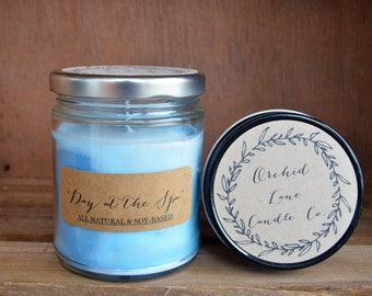 Day at the Spa Soy Candle, Scented Soy Candle, 8 oz Jar, 4 oz. Jar, Hand Poured Soy, Soy Candle