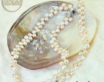 handmade cultivated pearls neclace - bracelet set