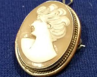 lovely vintage small silver cameo brooch pendant 800