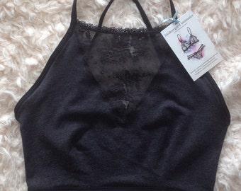 Dark grey halter top/crop top with black lace