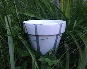 Grey (distressed) & Metallic Plant Pot