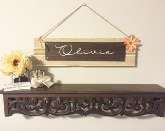 Baby Name Sign, Custom Wooden Nursery Sign, Wooden Signs for Home, Baby Shower Gift, Personalized Nursery Sign