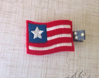 4th of July hair clip embroidered flag felt clip USA red white blue stars