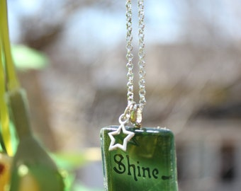 """Lovely Witches Club """"Shine"""" square glass pendant necklace"""