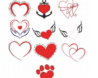 Embroidery * heart * 20teilig in 2 sizes