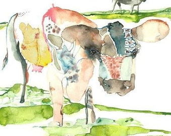 """Cow Watercolor Painting,Cows in the meadow, Farm fields Landscape, Cows in the field Art Print - 9 x13"""""""
