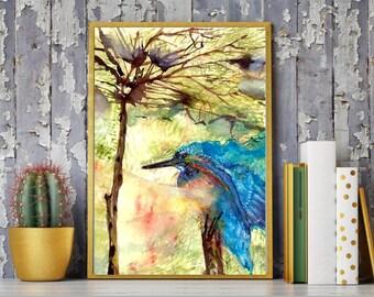 Kingfisher painting, Bird painting, Bird art, Watercolor print, Watercolor kingfisher, Blue bird, Modern bird, Bird home decor